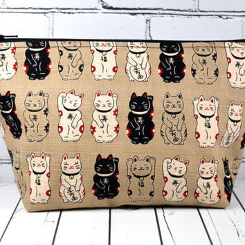 Lucky Cat Makeup Bag, Maneki Neko Cat Bag, Japanese Cat, School Supplies, Large Makeup Bag.