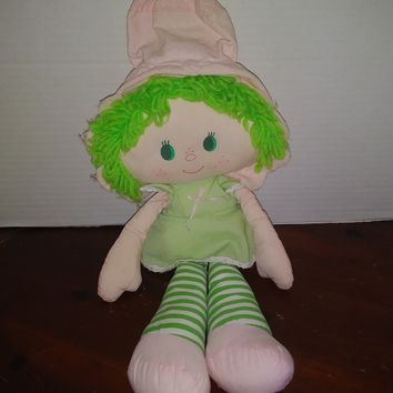 vintage 1983 strawberry shortcake lime chiffon rag doll plush