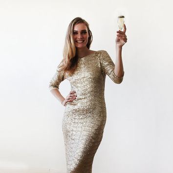 Gold backless maxi sequined gown with 3/4 sleeves, Gold sparkling bridesmaids sequins dress 1131