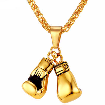 Boxing Gloves Pendant with Stainless Steel Chain (Gold, Silver,Black, Rose Gold)