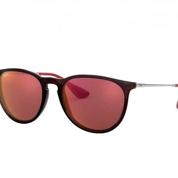 Ray-Ban RB4171-6339D0 Erika Color Mix Brown Silver Aviator Dark Red Sunglasses