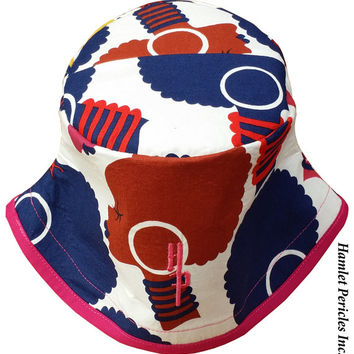African Queen Patchwork-top Bucket Hat | Afro | Afrocentric Hat | Natural Hair | African Silhouette | Red Blue Gold Hat by Hamlet Pericles