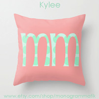 "Monogram Personalized Custom ""Kylee"" Pillow Cover 16x1""Initials Unique Gift for Her Him Couch Bedroom Room Ombre Light Pink Mint Green Dots"