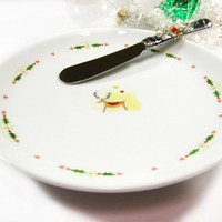 Christmas Tree Cheese Plate with Green and Gold Beaded Spreader