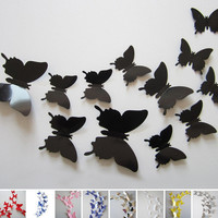 s   12pcs/Lot 3D Butterfly Wall Sticker Home Party Wedding Decoration DIY Home Decoration 9 Colors JM0051