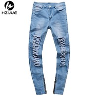Men destroyed jeans Big damage Slim zipper jeans rock hip hop men jeans casual pants