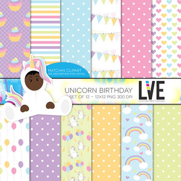 Unicorn Birthday 12x12 Scrapbooking Digital Paper Pack, Backgrounds, Rainbows, Balloons, Baby Shower Patterns Commercial or Personal use