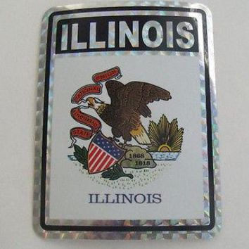 "Illinois Flag Reflective Sticker 3""x4"" Inches Adhesive Car Bumper Decal"