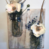 Shabby mason jar sconce, mason jar vase, reclaimed wood planter, wall mount mason jar, bathroom storage, mason jar decor, mason jar storage