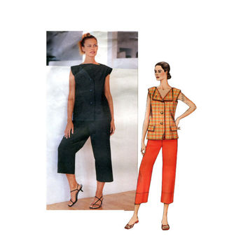 ISSEY MIYAKE VOGUE Top & Pants Tunic Capris Pattern Women's Vogue 2667 Designer Original Sewing Patterns UnCUT Bust 34 36 38 Size 12 14 16