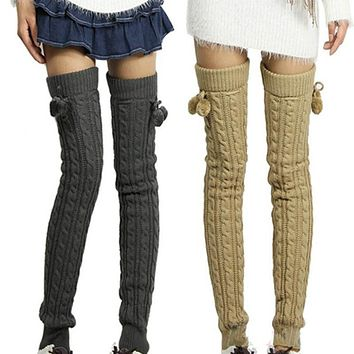 Women Fashion Winter Crochet Knitted Stocking Footless Leg Warmers Boot Thigh High Stockings long leg Warmers