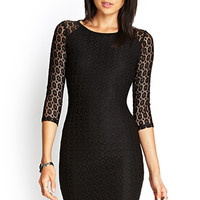 FOREVER 21 Body-Conscious Lace Dress Black Large