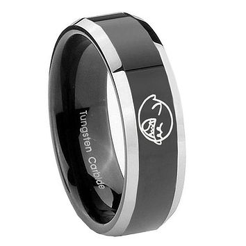 10MM Beveled Two Tone Mario Boo Ghost Shiny Black Middle Tungsten Men's Ring