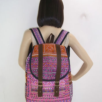 PURPLE ORANGE Backpack Book Bag Handmade Hmong Vintage Fabric Fair Trade Thailand (BG510V.702)