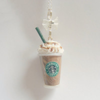 Scented Starbucks inspired Mocha Frappuccino Miniature Food Necklace Pendant - Miniature Food Jewelry
