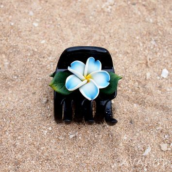 Plumeria Blue Hawaiian Flower Hair Claw