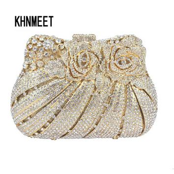 LaiSC rose flower shape Luxury crystal Clutch bags bling rhinestone evening bags Gold women evening clutch bags party bag SC047