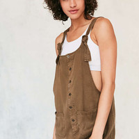 BDG Andy Button-Front Tie-Strap Shortall - Urban Outfitters