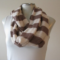 Sweater Scarf, Sweater Knit Infinity Scarf, Loop Scarf, Taupe and Cream Stripes, Fall scarf
