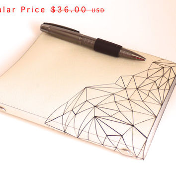 SALE Leather Sketchbook Journal- Geometric Mountain Sketchbook in Creme Leather with Pen Closure, refillable, size small 4x6 paper