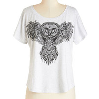 Owls Mid-length Short Sleeves Wisely Styled Tee