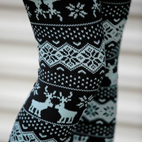 Gray Nordic Reindeer Leggings