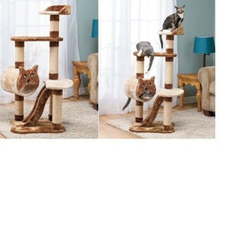 "Cat Tree Tower 4 Tier Large Oversized 4"" Tall Sleep Hide Nap Play Scratch Perch"