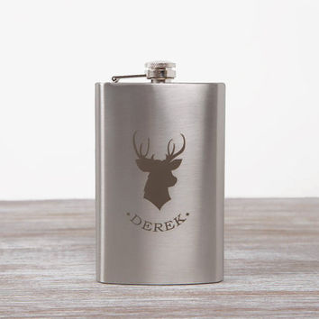 Personalized Flask // Deer Silhouette // Drinking accessories // Gift for traveler man // 10 oz Hip Flask