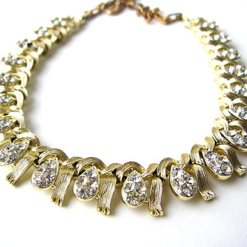 Vintage Lisner Necklace - Rhinestone Lisner Necklace - Missing Stone