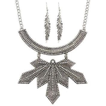 Silver Alloy Leaf and Feather Necklace and Earrings