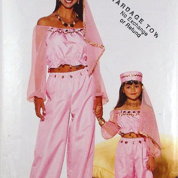 Butterick Costume Harem Pattern P420 Children's Girls' Misses Costume Pattern Top Pants Hat Pattern