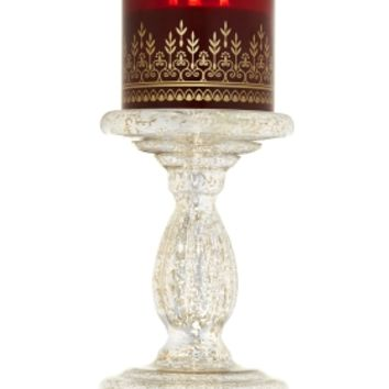 3-Wick Candle Holder Tall Mercury Glass Pedestal