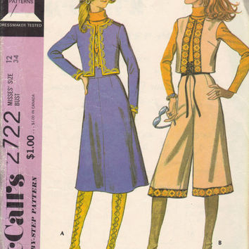 McCall's 70s Sewing Pattern Gauchos Culottes Skirt Vest Cropped Jacket Collarless Misses Suit Boho Hippie Fashion Bust 34