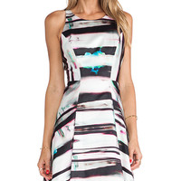 MILLY Mirage Print Flare Dress in Black