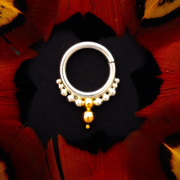 Sandhya. Beleaf jewelry. Argentium Silver and 14k Gold Septum Ring. Tribal fusion belly dance adornment. Tribal Gypsy piercing Jewelry