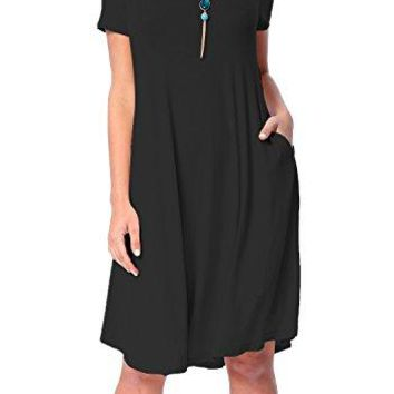 levaca Womens Plain Scoop Neck Draped Pockets Loose Swing Casual Midi Dress