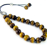 Tiger Eye Komboloi, Greek Worry Beads with Vintage Style Silvertone Shield Bead
