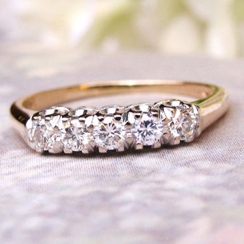 Vintage Starfire Five Diamond Wedding Ring 0.50ctw Diamond Wedding Band 14K Two Tone Gold Diamond Anniversary Ring!