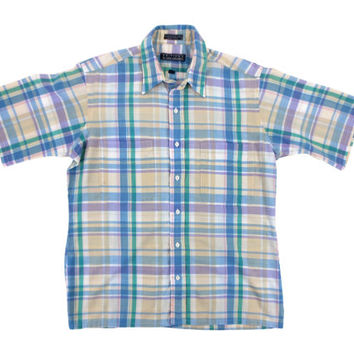 Vintage Blue Plaid Shirt - Button Down Oxford Short Sleeve Green Yellow 80s - Men's Size Large Lrg L