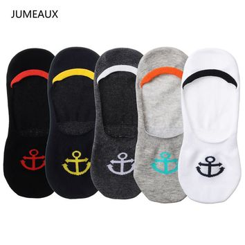 JUMEAUX Hot 5 Pairs Funny Anchor Embroidery Socks Thin Shallow Mouth Invisible Boat Cotton Slip Motion Socks for Holidays Gifts