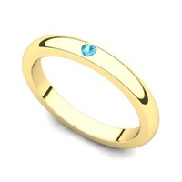 14k Yellow Gold Bezel set Topaz Band Ring
