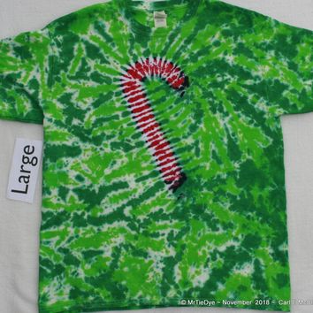 Adult Large Tie-Dye Candy Cane Tee