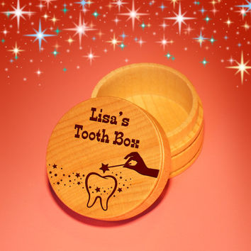 Design's Personalized Tooth Fairy Box with Engraved Design Option, Font Selection, & Gift Pouch Included