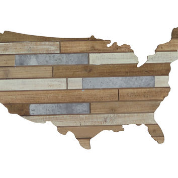 USA Metal and Wood Plank Wall Decor