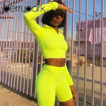 BerryPark Sport Yoga Set Women Gym Clothing Fitness Suit Female Long Sleeve Crop Top+Shorts Running Sportswear Workout Yoga Wear