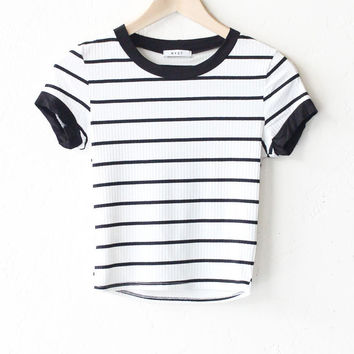 Striped Crop Tee - White