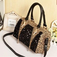 Leopard Shiny Sparking Handbag Shoulder Bag