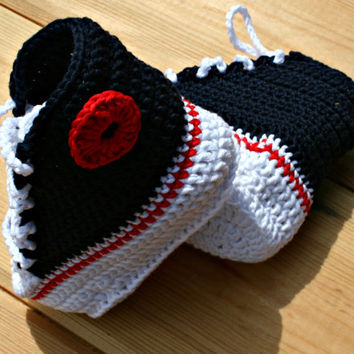 MADE TO ORDER  crochet baby converse style boots navy blue white red 0 - 3m / 3 - 6m Please select size