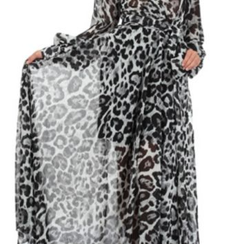 Chiffon Maxi Long Wrap Dress in Leopard