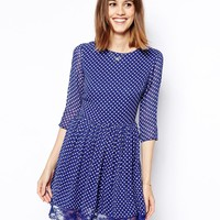 ASOS Skater Dress In Spot Print With Lace Hem